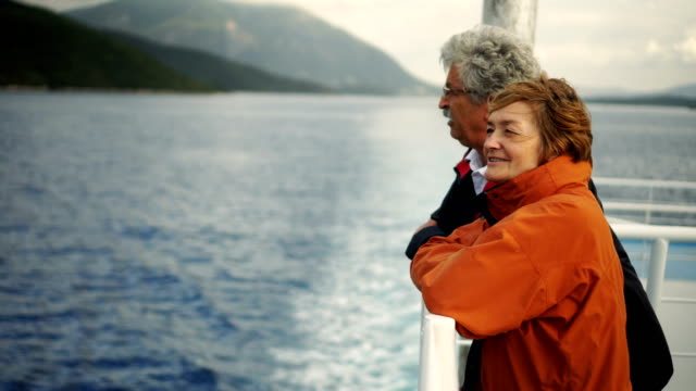 senior couple on ferry - ferry stock videos & royalty-free footage