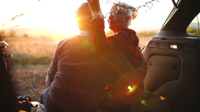 senior couple outdoors with car - old lightbulb stock videos and b-roll footage