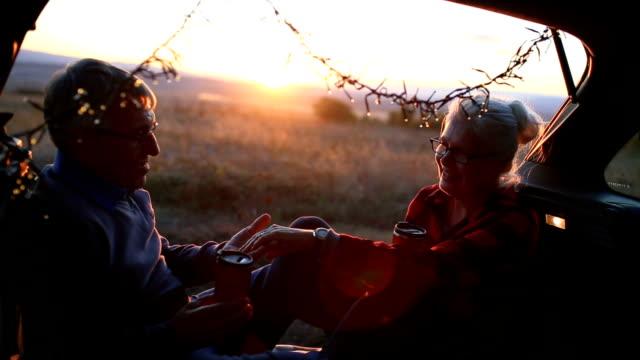 senior couple outdoors with car - senior couple stock videos & royalty-free footage