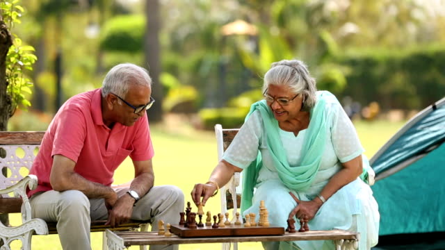 senior couple playing chess in the park, delhi, india - chess stock videos & royalty-free footage