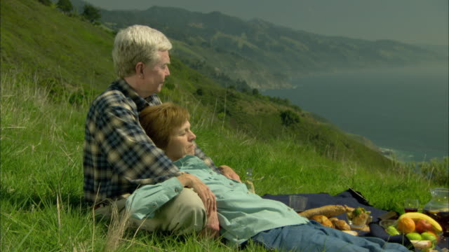 ms, pan, focusing,  senior couple relaxing on coastal mountain slope, big sur, california, usa - alm stock-videos und b-roll-filmmaterial