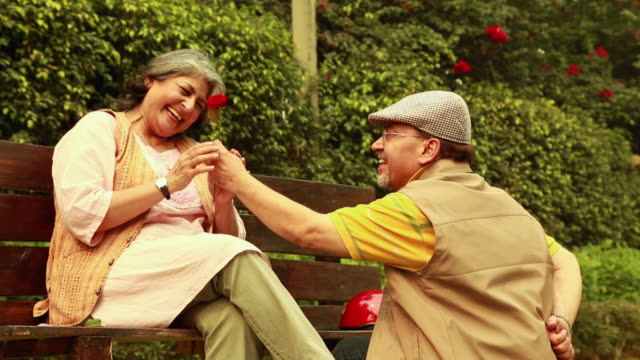 senior couple romancing in the park, delhi, india - verlieben stock-videos und b-roll-filmmaterial