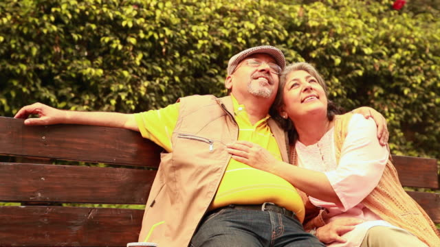 senior couple romancing in the park, delhi, india - daydreaming stock videos & royalty-free footage