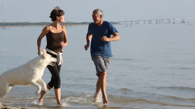 senior couple running on beach with dog