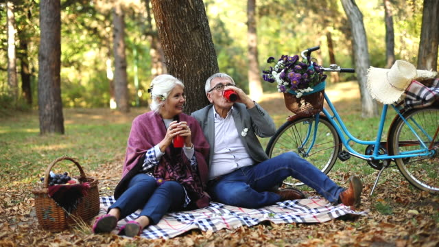 vídeos de stock e filmes b-roll de senior couple sitting in the forest while relaxing and drinking a cup of coffee - parque público
