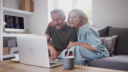 Senior Couple Sitting On Sofa At Home Making Video Call Using Laptop Computer Together