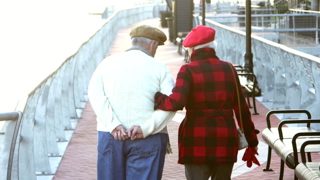 Senior couple taking a walk on a city waterfront
