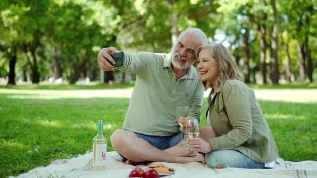 senior couple taking selfie on a picnic - peluria del viso video stock e b–roll
