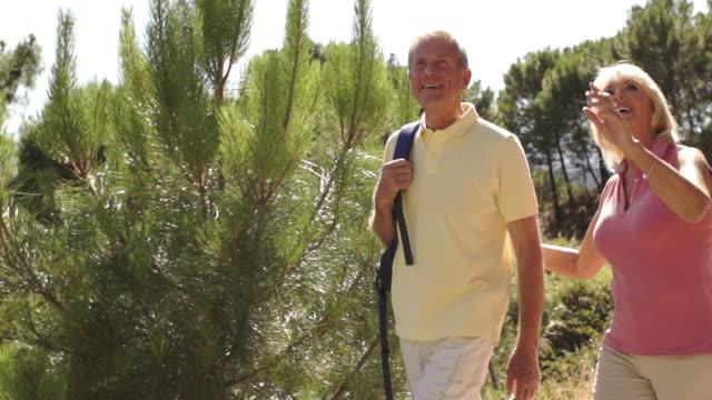 vídeos de stock, filmes e b-roll de senior couple walking in countryside. - plano americano