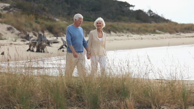 ws pan senior couple walking on beach, eastville, virginia, usa - eastville stock videos and b-roll footage