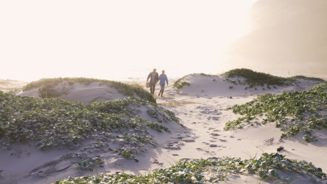 senior couple walking through sand dunes by the beach - 熟年カップル点の映像素材/bロール