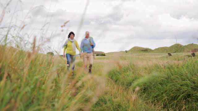 vidéos et rushes de couple âgé marche - scène rurale