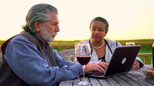 älteres paar zusammen mit laptop und den wein zu kosten. - 65 69 jahre stock-videos und b-roll-filmmaterial