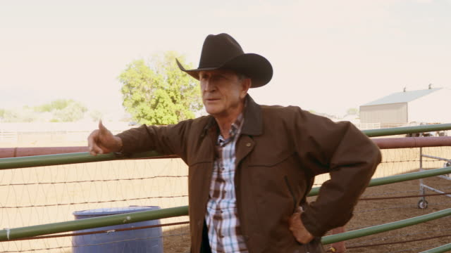 senior cowboy talking on a horse ranch - rancher stock videos & royalty-free footage