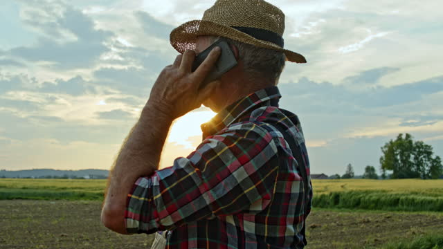 slo mo senior farmer talking on the phone while working on the field - 1 minute or greater stock videos & royalty-free footage