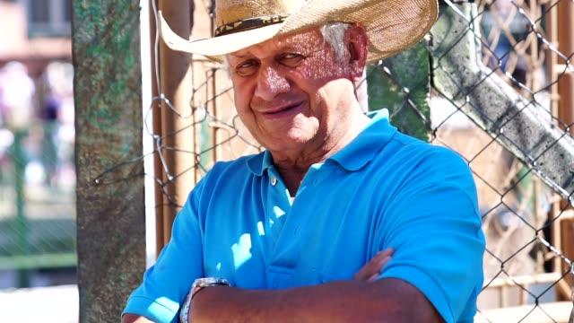 senior farmer/countryside man - stato di rio grande do sul video stock e b–roll