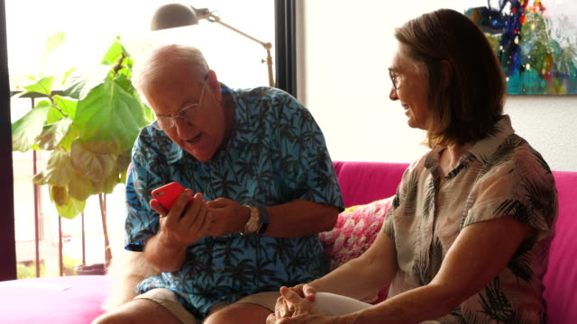 ms senior friends discussing photos on smart phone while sitting on couch in living room - 70 79 jahre stock-videos und b-roll-filmmaterial