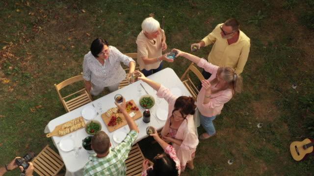 美しい一日の間に裏庭で一緒に質の高い時間を楽しむシニアの友人 - 懇親会点の映像素材/bロール