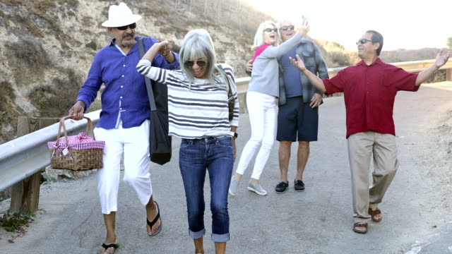 senior friends going to the beach - young at heart stock videos & royalty-free footage
