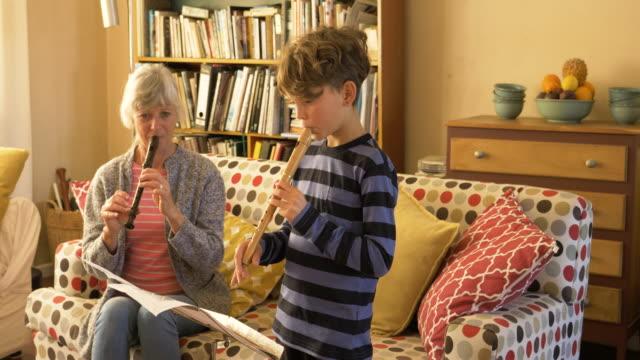 vídeos y material grabado en eventos de stock de senior grandmother teaching her grandson to play the recorder - autodisciplina