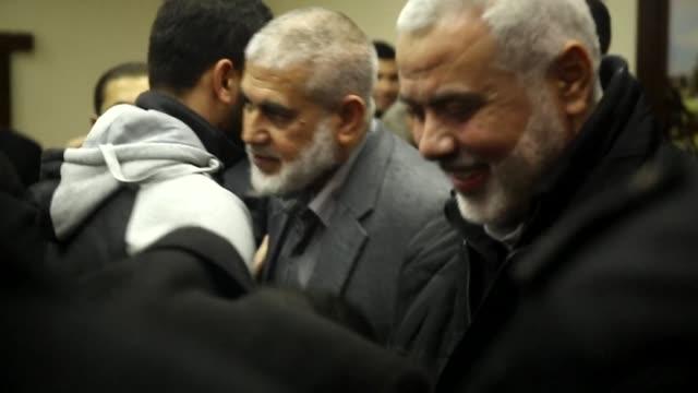 Senior Hamas leader Ismail Haniya returned to Gaza Friday after spending five months abroad to perform the Muslim hajj pilgrimage in Saudi Arabia