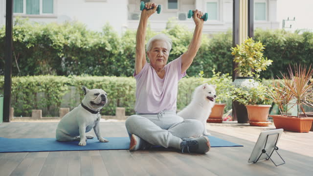 senior home workout - health technology stock videos & royalty-free footage