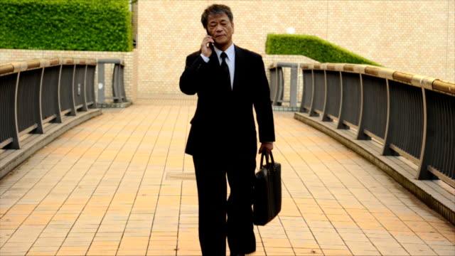 シニア日本のビジネスマン電話中 - 出張点の映像素材/bロール
