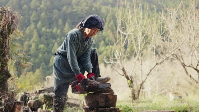 vídeos y material grabado en eventos de stock de slo mo ms- mujer japonesa senior cortando troncos con una motosierra - leñador