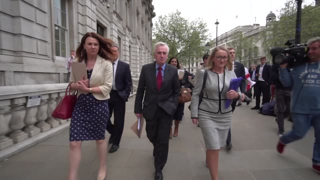 Senior Labour Party ministers including John McDonnell Keir Starmer and Rebecca LongBailey arrive in Whitehall for further Brexit talks with the...