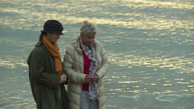 senior ladies on sea front walk - tre quarti video stock e b–roll