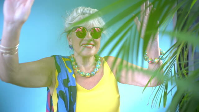 a senior lady dancing. - yellow stock videos & royalty-free footage