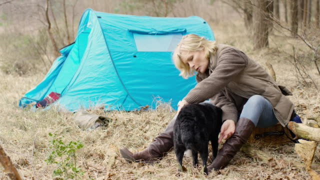 senior lady with her dog sitting enjoying the wilderness from her campsite - stiefel stock-videos und b-roll-filmmaterial