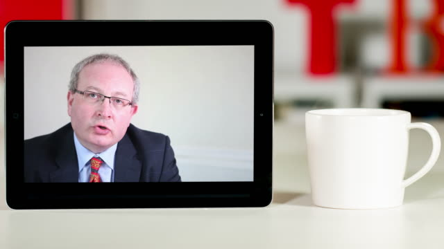 senior lawyer consultation on digital tablet - matte board stock videos & royalty-free footage