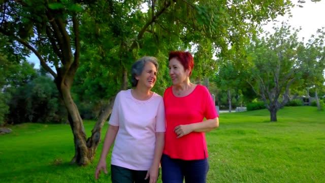 vídeos y material grabado en eventos de stock de lgbtq senior + pareja caminando por el parque - 50 54 years