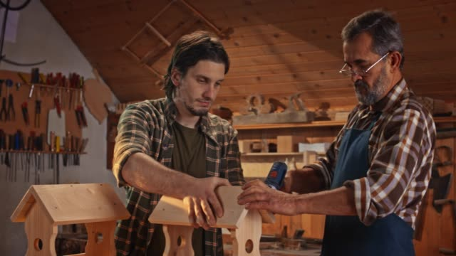 senior male carpenter and his son making bird houses in the workshop - carpenter stock videos & royalty-free footage