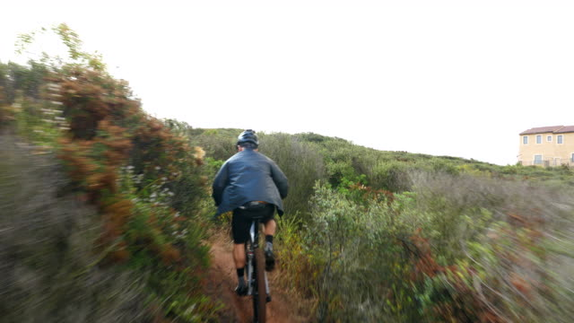 vidéos et rushes de ts senior male friends climbing hill on mountain bikes during early morning ride - faire du vélo tout terrain