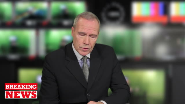 senior male newsreader in television studio - news event stock videos & royalty-free footage