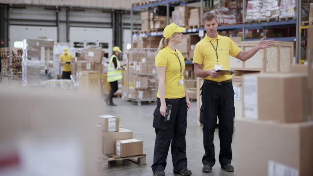 ds senior male supervisor walking in warehouse with a female employee holding a scanner in her hand - postal worker stock videos & royalty-free footage