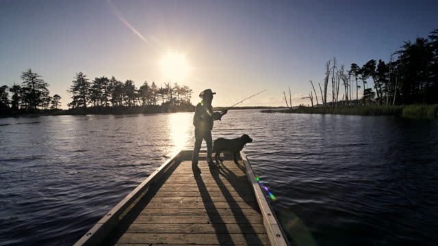 senior man and his dog fly fishing off dock, oregon - twilight stock videos & royalty-free footage