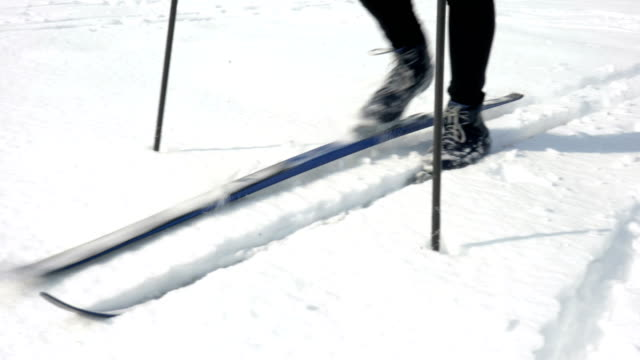 senior man cross country skiing - ski pole stock videos & royalty-free footage
