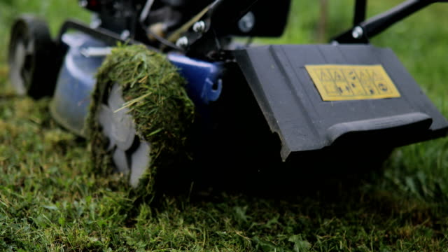 senior man cutting grass with lawnmower in the orchard - mowing stock videos & royalty-free footage