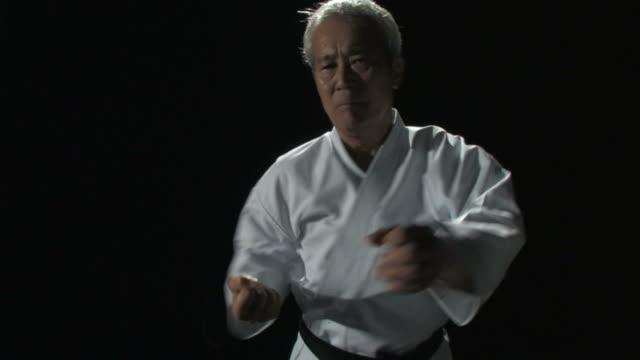senior man demonstrating karate - karate stock videos and b-roll footage