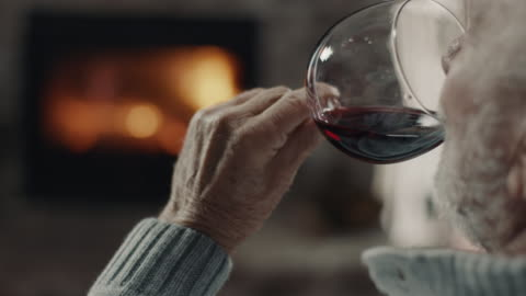 senior man drinking red wine - alcohol drink stock videos & royalty-free footage