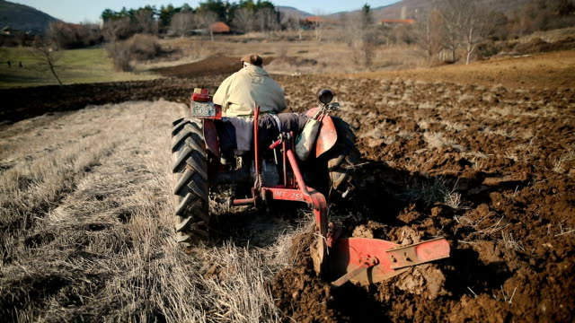 Senior Man Driving Small Tractor And Plowing Field.Agricultural activity.Non-Urban Scene