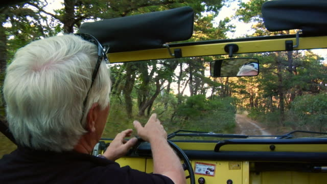 cu, senior man driving suv in tree lined dirt road, north truro, massachusetts, usa - new england usa stock videos & royalty-free footage