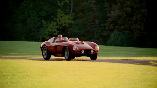 ms, pan, senior man driving vintage car on country road, usa, pennsylvania, solebury - collector's car stock videos and b-roll footage
