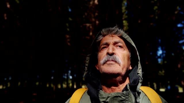 vidéos et rushes de l'homme aîné apprécie l'air frais - yeux fermés