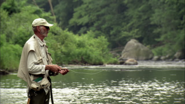 senior man fly fishing in farmington river / casting line / connecticut - one senior man only stock videos and b-roll footage