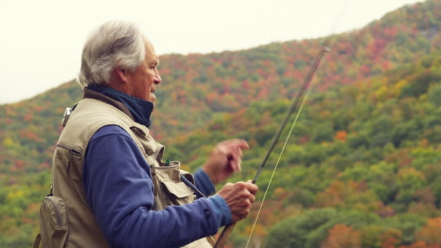 ms senior man fly fishing, manchester, vermont, usa - waist up stock videos & royalty-free footage