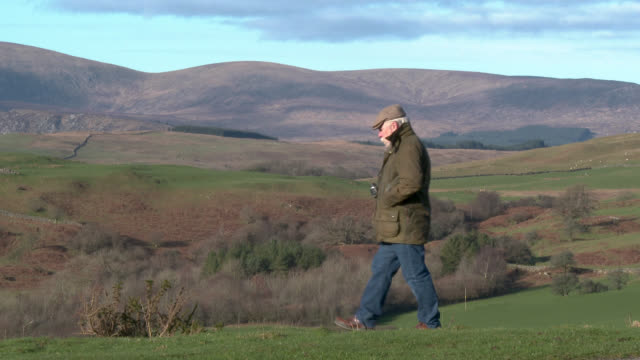 senior man in rural setting entering frame camera right and using binoculars - scotland stock videos & royalty-free footage